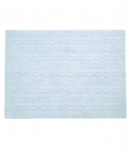 Covor dreptunghiular albastru din bumbac 120x160 cm Braids Soft Blue Medium Lorena Canals