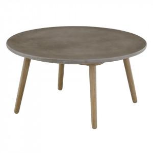 Masuta cafea gri din lemn si beton 80 cm Bird Zago