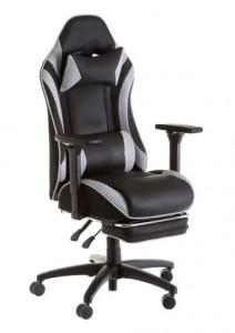 Scaun ajustabil negru/alb din piele ecologica pentru birou Gamer Studio Black White Unimasa
