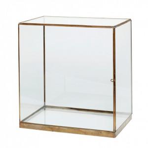Cutie transparenta/aurie din sticla si alama 25x40 cm Antique Gold Hubsch