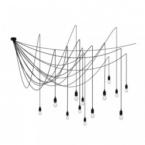 Lustra neagra din metal si plastic cu 14 LED-uri Maman Dimmable Seletti