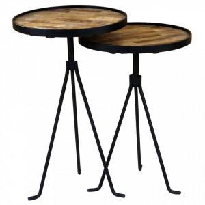 Set 2 masute negre pentru cafea din lemn si metal Woody Zago