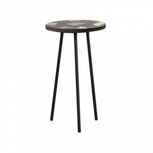 Masuta neagra din fier si terrazzo 35,5 cm Colours Table Nordal
