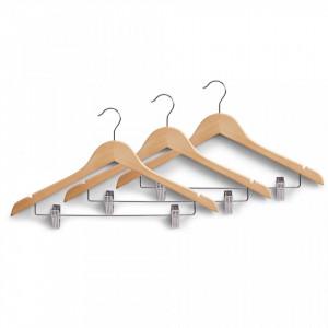 Set 3 umerase maro din lemn Clothes Hanger Zeller