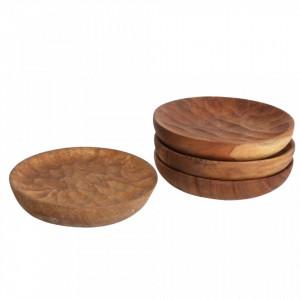 Set 4 coastere maro din lemn de tec Aeolian Raw Materials