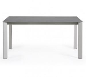 Masa dining extensibila dreptunghiulara alb/gri din otel si portelan 90x(160)220 cm Atta Roca La Forma