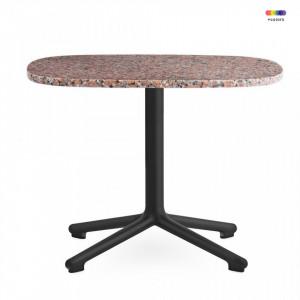 Masa neagra/roz din aluminiu si granit 48,5x60 cm pentru cafea Era Black Alu Normann Copenhagen