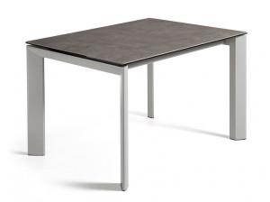 Masa dining extensibila gri/alba din sticla si otel 80x(120)180 cm Atta Vulcano Ceniz La Forma