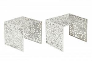 Set 2 masute argintii din aluminiu pentru cafea Abstract Invicta Interior