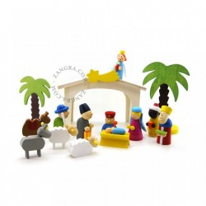 Set de joaca 18 piese din lemn Nativity Zangra