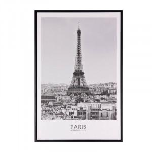 Tablou alb/negru din MDF si polistiren 40x60 cm Eiffel Somcasa