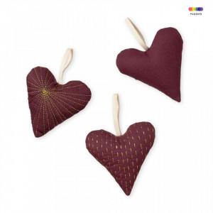 Set 3 decoratiuni suspendabile rosu bordo din bumbac organic Hearts Bordeaux Cam Cam