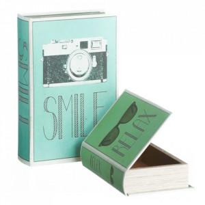Set 2 cutii tip carte verzi/albastre din MDF si canvas Relax Ixia