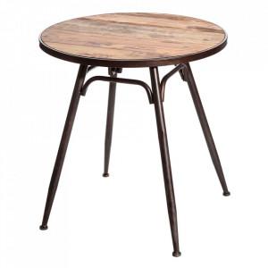 Masuta maro/neagra din fier si lemn de brad 70 cm Kate Ixia