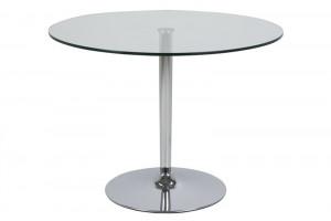 Masa transparenta/argintie din sticla si metal 100 cm pentru cafea Becky Actona Company