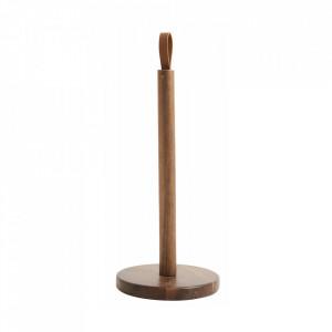 Suport de bucatarie maro din lemn si piele pentru hartie Woody Paper Nordal