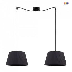 Lustra neagra din textil si otel cu 2 becuri Kami Black Double Medium Sotto Luce