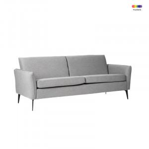 Canapea gri deschis din lemn de pin si poliester pentru 2 persoane New York Light Grey Somcasa
