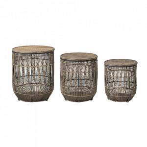 Set 3 masute maro din bambus si ratan Naeem Bloomingville