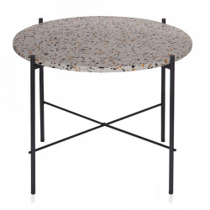 Masuta gri/neagra din terrazzo si metal 63 cm Vayen Woood