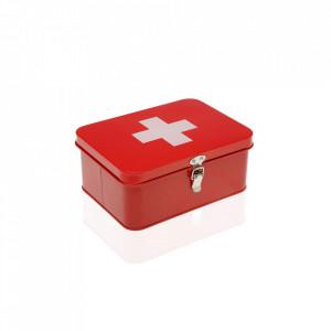 Cutie rosie/alba cu capac din metal pentru medicamente First Aid Kit Versa Home