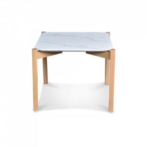 Masuta alba/maro din MDF si lemn pentru cafea 50x50 cm Marble Effect Opjet Paris