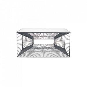 Masa transparenta/neagra din sticla si metal pentru cafea 80x80 cm Brow Opjet Paris