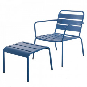 Set scaun si scaunel pentru picioare indigo din otel pentru exterior Vega Indigo Unimasa