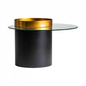Masuta cafea rotunda din metal si sticla 73 cm Davos Vical Home