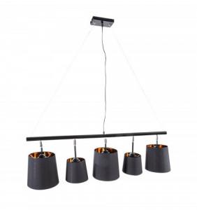 Lustra neagra/aurie din metal si textil cu 5 becuri Levels Pendant Invicta Interior