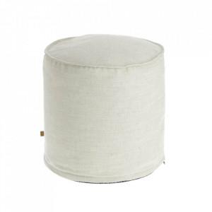 Puf rotund alb din textil 42 cm Maelina La Forma