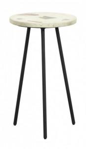 Masuta verde fistic/neagra din terrazzo si fier 35,5 cm Pistachio Side Nordal