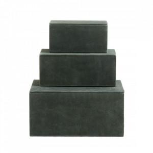 Set 3 cutii cu capac verzi din piele si MDF Goat Elegance Nordal