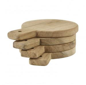 Set 4 tocatoare rotunde maro din lemn 3,5x10 cm Serve Nicolas Vahe