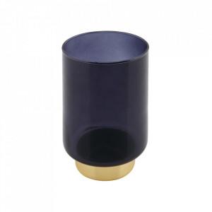 Suport lumanare albastru/auriu din sticla 14 cm Lola Woood