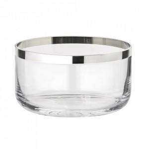 Recipient argintiu/transparent din sticla cristal 13x24 cm Sepp Edzard