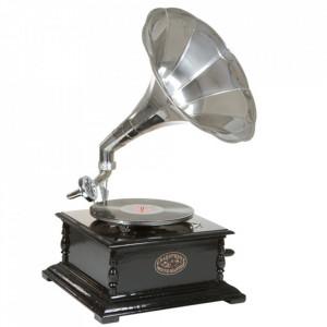 Decoratiune argintie/maro din lemn de salcam 65 cm Gramophone Santiago Pons