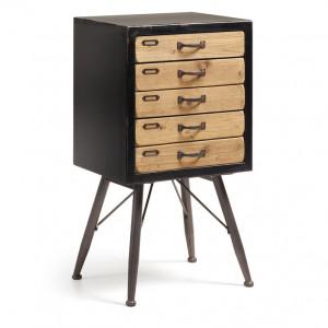 Dulapior din metal negru si lemn 86x45 cm Free La Forma