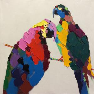 Tablou multicolor din canvas si lemn 90x90 cm Amazon Ter Halle