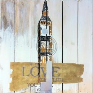 Tablou multicolor din canvas si lemn 60x60 cm Love Ter Halle