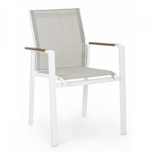 Scaun dining alb din textilena si aluminiu pentru exterior Elias Bizzotto