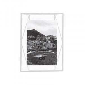 Rama foto alba/transparenta din metal si sticla pentru perete 25x35 cm Nuri LifeStyle Home Collection