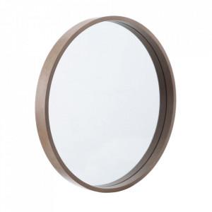 Oglinda rotunda maro din lemn de paulownia 45 cm Matilda Ixia