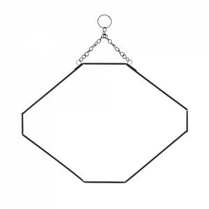 Oglinda hexagonala neagra din fier si sticla 25,5x35 cm Hahoa Madam Stoltz