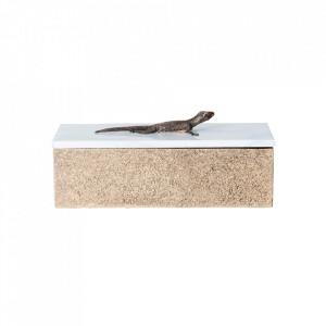 Cutie cu capac aurie/alba din marmura Lizard Bitt Vical Home