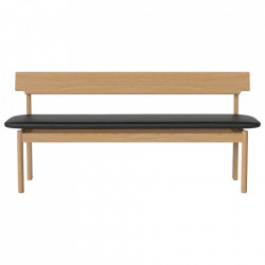 Banca maro/neagra din lemn si piele 170 cm Loyal Bolia