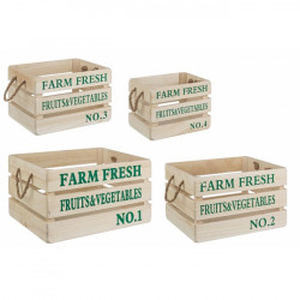 Set 4 cutii maro/verzi din lemn Farm Fresh Bizzotto