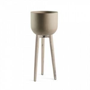 Ghiveci cu suport din ciment si lemn 97 cm Stahl La Forma
