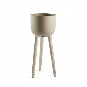Ghiveci cu suport din ciment si lemn 86 cm Stahl La Forma