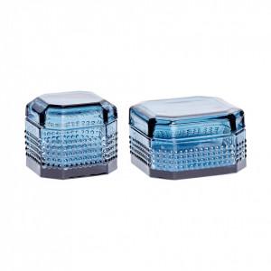 Set 2 cutii albastre din sticla 8x8 si 10x7 cm Hubsch